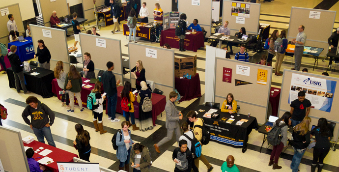 Students attend an info fair