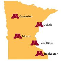 Silhouette of Minnesota with each UMN Campus noted