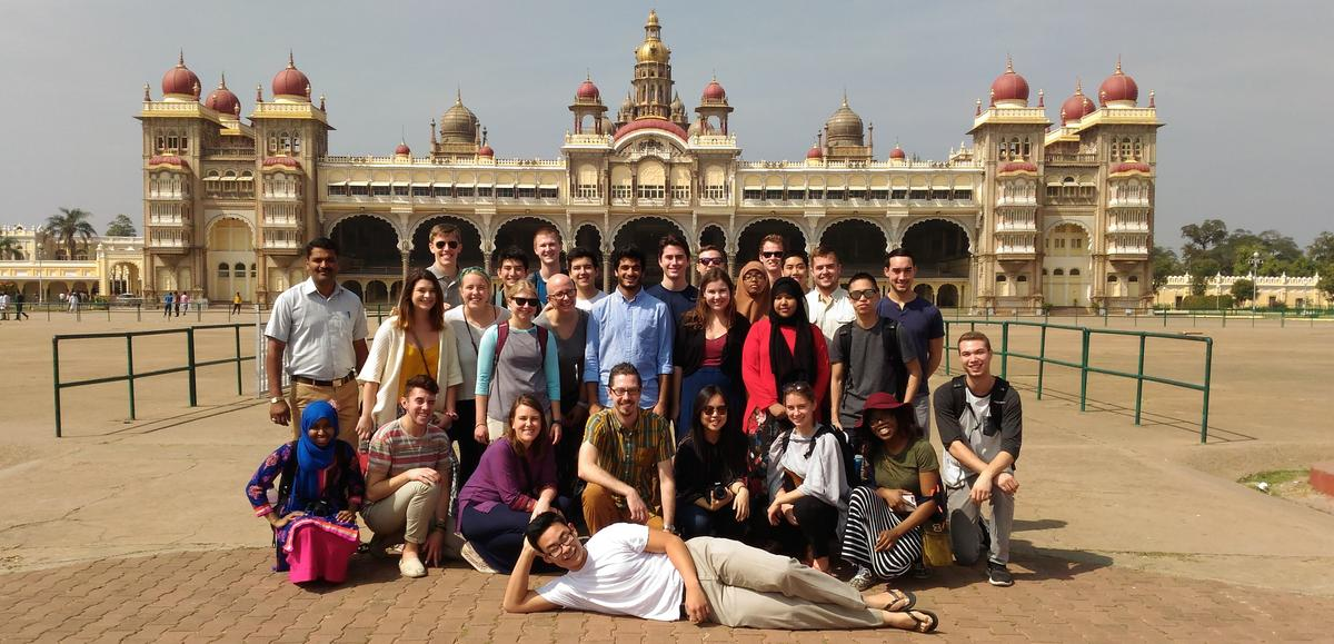 A group of students studying abroad