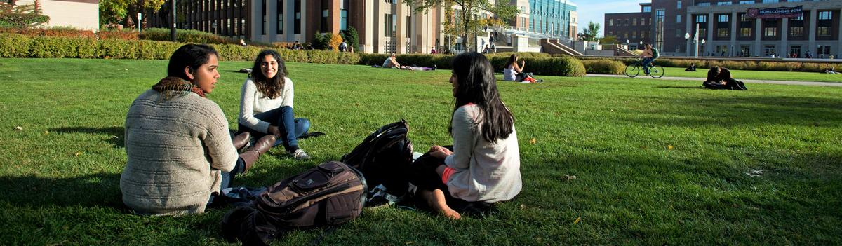 Students sit in the grass
